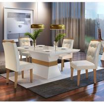 Conjunto Sala de Jantar Mesa 4 Cadeiras Luísa Siena Móveis Veludo Creme/Off White/Imbuia -