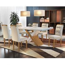 Conjunto Sala de Jantar Mesa 6 Cadeiras Amanda Espresso Móveis Creme/Off White/Imbuia -