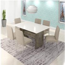 Conjunto Sala de Jantar Mesa 6 Cadeiras Bariloche Somopar Rust -