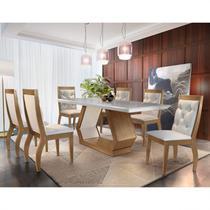 Conjunto Sala de Jantar Mesa 6 Cadeiras Cristiane Espresso Móveis Veludo Creme/Off White/Imbuia -