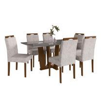 Conjunto Sala de Jantar Mesa + 6 Cadeiras Delazari, Imbuia 192471 -