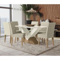 Conjunto Sala De Jantar Mesa 6 Cadeiras Kappesberg Amora Off White -