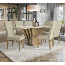 Conjunto Sala De Jantar Mesa 6 Cadeiras Kappesberg Bardana Off White Linho -
