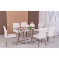 Conjunto Sala de Jantar Mesa Aço e Vidro 160 x 90 cm 06 Cadeiras 836 Lavanda Modecor -