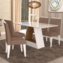 Conjunto Sala de Jantar Mesa Alana 4 Cadeiras Nicole Cimol Branco/Savana/Pluma -