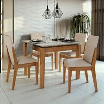 Conjunto Sala de Jantar Mesa Áries 100 cm 04 Cadeiras Lira Lopas -