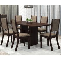 Conjunto Sala de Jantar Mesa Avenida e 6 Cadeiras Kiara Viero Choco/Canela -