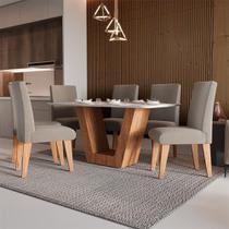 Conjunto Sala de Jantar Mesa Bilbao Tampo 160 cm MDF com 6 Cadeiras Siena - KF Móveis