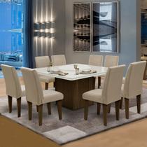 Conjunto Sala de Jantar Mesa Castanho Off Tampo Giratório 8 Cadeiras Siena Amsterdã Dobuê Areia -