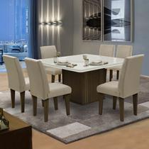 Conjunto Sala de Jantar Mesa Castanho / Off White Tampo Giratório 6 Cadeiras Amsterdã Dobuê Areia -