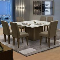 Conjunto Sala de Jantar Mesa Castanho / Off White Tampo Giratório 6 Cadeiras Amsterdã Dobuê Cacau -