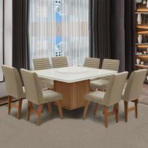 Conjunto Sala de Jantar Mesa Cedro Off Tampo Giratório 8 Cadeiras Amsterdã Dobuê Areia -