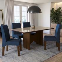 Conjunto Sala de Jantar Mesa Chilli e 4 Cadeiras Walnut/Bronze/Marinho - Kappesberg -