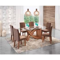 19310692a Conjunto Sala de Jantar Mesa Chocolate Flavia 6 Cadeiras Milena - Cimol  Savana