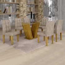 Conjunto Sala de Jantar Mesa Classic Tampo de Vidro 6 Cadeiras Vitória Cel Móveis Ypê/Pena 84 -
