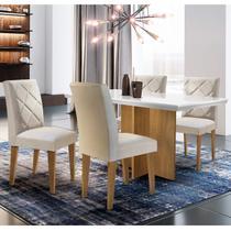 Conjunto Sala de Jantar Mesa com 4 Cadeiras Cayman Espresso Móveis Off White/Imbuia/Veludo Creme -