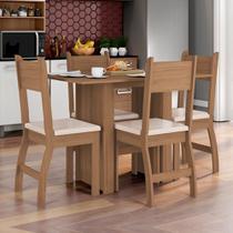 Conjunto Sala de Jantar Mesa com 4 Cadeiras Milano Poliman Carvalho/Savana - Poliman Móveis
