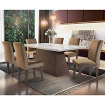Conjunto Sala de Jantar Mesa com 6 Cadeiras Mariana Espresso Móveis Animalle Chocolate/Off White/Café -