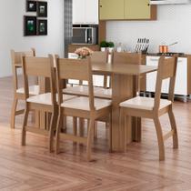 Conjunto Sala de Jantar Mesa com 6 Cadeiras Milano Poliman Carvalho/Savana - Poliman Móveis