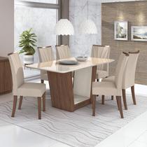 Conjunto Sala de Jantar Mesa com Tampo de Vidro 170cm e 6 Cadeiras Apogeu Móveis Lopas Imbuia Naturale/Off White/Linho Rinzai Bege -