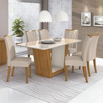 Conjunto Sala de Jantar Mesa com Tampo de Vidro 170cm e 6 Cadeiras Apogeu Móveis Lopas Rovere Naturale/Off White/Linho Rinzai Bege -