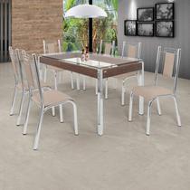 Conjunto Sala de Jantar Mesa com Tampo de Vidro 6 Cadeiras Bela Premium Ciplafe Cromado/Bege -