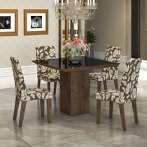 Conjunto Sala de Jantar Mesa com Tampo de Vidro Lótus 4 Cadeiras Vênus Viero Grigio/Coffee -