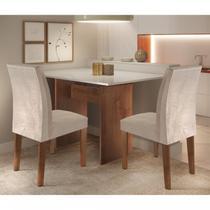 Conjunto Sala de Jantar Mesa e 2 Cadeiras Caroline Cel Móveis Chocolate/Off White/Tecido Pena -
