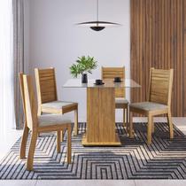 Conjunto Sala de Jantar Mesa e 4 Cadeiras Almira Espresso Móveis Pinho/Canela -