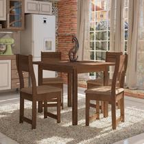 Conjunto Sala de Jantar Mesa e 4 Cadeiras Dallas Plus Indékes Avelã/Noz -