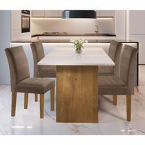 Conjunto Sala de Jantar Mesa e 4 Cadeiras Júlia Cel Móveis Ype/Off White/Tecido Animale Marrom -
