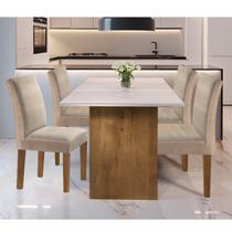 Conjunto Sala de Jantar Mesa e 4 Cadeiras Júlia Cel Móveis Ype/Off White/Tecido Pena -