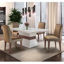 Conjunto Sala de Jantar Mesa e 4 Cadeiras Santorini Espresso Móveis Animalle Chocolate/Off White/Café -