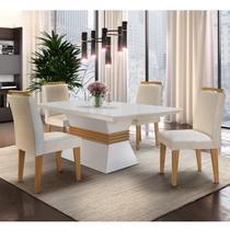 Conjunto Sala de Jantar Mesa e 4 Cadeiras Santorini Espresso Móveis Veludo Creme/Off White/Imbuia -