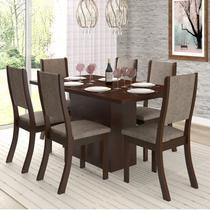 Conjunto Sala de Jantar Mesa e 6 Cadeiras Cereja Viero Choco/Canela -