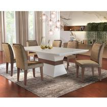 Conjunto Sala de Jantar Mesa e 6 Cadeiras Dari Siena Móveis Animalle Chocolate/Off White/Café -