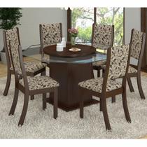 Conjunto Sala de Jantar Mesa e 6 Cadeiras Gabriella Espresso Móveis Choco/Medina -