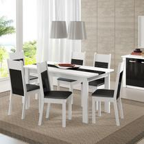 Conjunto Sala de Jantar Mesa e 6 Cadeiras Veneza Madesa Branco/Preto -