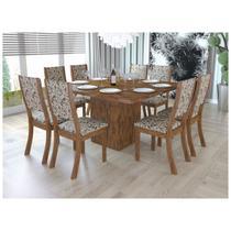 Conjunto Sala de Jantar Mesa e 8 Cadeiras Caqui Viero Avelã/Medina -