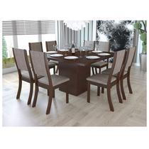 Conjunto Sala de Jantar Mesa e 8 Cadeiras Caqui Viero Choco/Canela -