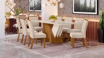 Conjunto Sala de Jantar Mesa Epic 2000 Nature/Off White e 8 Cadeiras Vita Linho - Qmovi - Henn