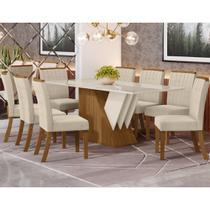 Conjunto Sala de Jantar Mesa Epic 200cm e 8 Cadeiras Tauá Nature Off White/Linho - HENN -