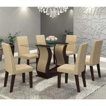 Conjunto Sala de Jantar Mesa Favorita e 6 Cadeiras Vênus Viero Choco/Acácia -