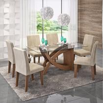 Conjunto Sala de Jantar Mesa Flávia 6 Cadeiras Milena 180cm Cimol Savana/Suede Bege -