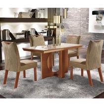 Conjunto Sala de Jantar Mesa Frisa e 4 Cadeiras Esparta LJ Móveis Castanho Prêmio/Pena Caramelo/Off White -