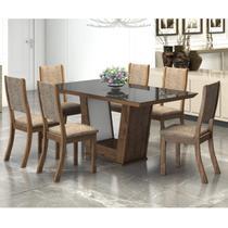 Conjunto Sala de Jantar Mesa Genesis 6 Cadeiras Kiara New Viero Griggio/Canela/Preto -