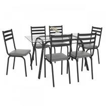 Conjunto Sala de Jantar Mesa Lotus Tampo de Vidro Incolor e 6 Cadeiras Artefamol Preto/Prata -