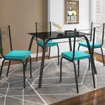 Conjunto Sala de Jantar Mesa Lotus Tampo de Vidro Preto e 4 Cadeiras Artefamol Preto/Azul -