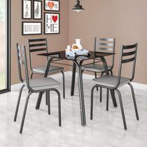 Conjunto Sala de Jantar Mesa Lotus Tampo de Vidro Preto e 4 Cadeiras Artefamol Preto/Platina -