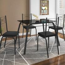 Conjunto Sala de Jantar Mesa Lotus Tampo de Vidro Preto e 4 Cadeiras Artefamol Preto -